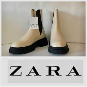 ZARA LUG SOLE LOW HEEL 100% LEATHER ANKLE BOOTS